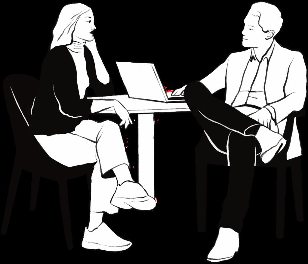 Piirroskuva. Mies ja nainen istuvat pöydän ääressä.
