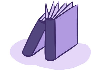 Piirroskuva, kaksi kirjaa.